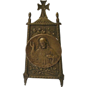 Detailed Metal Sacred Heart of Jesus on Easel Stand, Doll House Size