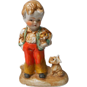 Vintage Boy with Dogs Figurine, Occupied Japan