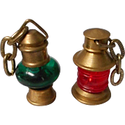 2 Miniature Doll House Oil Lamps