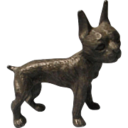 Vintage Pewter Boston Terrier Figurine