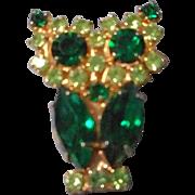 Vintage Rhinestone Owl Brooch