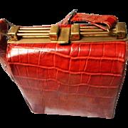 Vintage Embossed Alligator Double Side Handbag