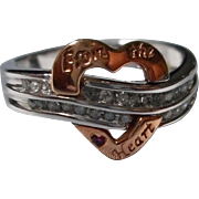 Vintage 10 K Diamond and Heart Ring
