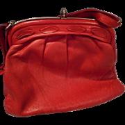 Vintage Red Leather Push Lock Handbag, Tagged