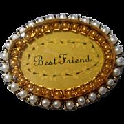 Vintage Seed Pearl Gold  Tone Brooch