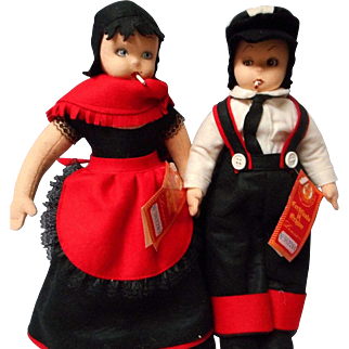 Vintage Pair of Lenci Smoker Dolls with Original Tags