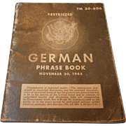 WW2 German Phrase Book, 1943