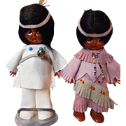 Vintage pair of Indian Knickerbocker Dolls