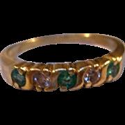 Vintage 18 K Diamond and Natural Green Stone Band