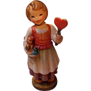 Vintage Anri Carved Wooden Girl with Heart, Limited Club Piece