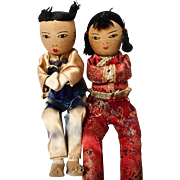 Set of Oriental Dolls in Original Silk Outfits