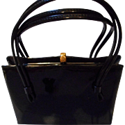 "Vintage Black Patent Leather Purse by "" After Five"""