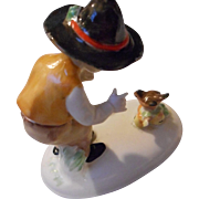 Vintage German Porcelain Boy talking to Bird