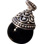 Vintage Sterling and Black Onyx Pendant