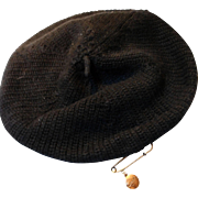 "Vintage Knit Beret with Vintage ""Coach"" Hat Pin"