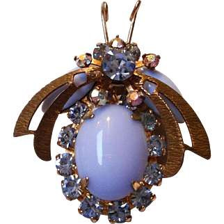 Vintage Blue Glass and Rhinestone Insect Pin