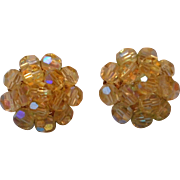 Vintage Iridescent Yellow Glass Clip Earrings, Vogue