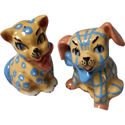 Vintage Ceramic Arts Studio Salt and Pepper, Calico Dog and Cat
