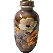 Hand Painted Floral Pottery Vase with  Hallmarked Silver Rim