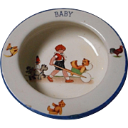 Vintage Porcelain Baby Dish, Marked Czech
