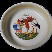 Vintage Porcelain Baby Dish, Czechoslovakia