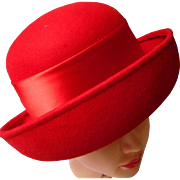 Vintage Red Wool Women's Derby Hat