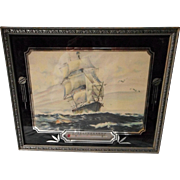 """Advertising Thermometer with Lithograph """"Off For The Grand Banks"""""""