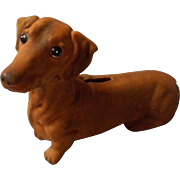 Heavy Pottery Dachshund Bank with Medallion Mark