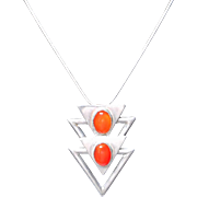 Vintage Sterling and Carnelian Pendant/Brooch