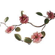 Mid Century Enameled Floral Stem on Copper