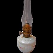 Early Century Milk Glass Miniature Oil Lamp