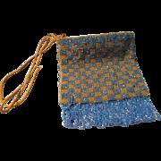 Vintage Blue Beaded Hand bag with Fringe