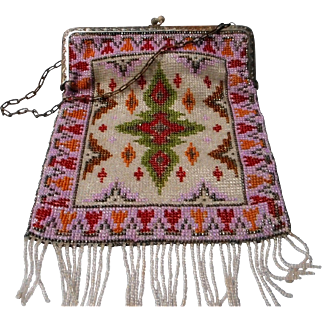 Vintage Beaded Purse with Geometric Design,