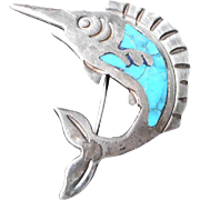 Sterling, Taxco Sword Fish with Turquoise Inlay
