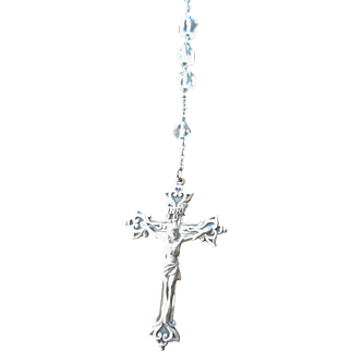 Vintage Sterling Rosary with Crystal Beads