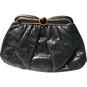 Vintage Judith Leiber Reptile Purse, Onyx Clasp