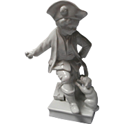 Vintage White Bisque Figure of Boy and Dog