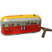 Vintage Tin Wind Up Lithograph Bus, W Germany