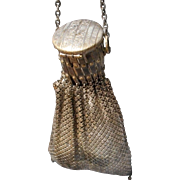 Vintage Metal Mesh Handbag with Accordion Pleated Top