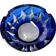 "Vintage ""Val St. Lambert"" Cobalt and Crystal Ashtray"