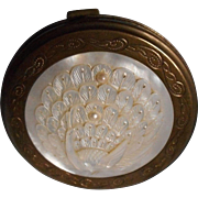 Vintage  Carved Mother of Pearl Compact