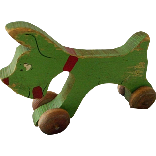 Vintage Wooden Push Toy on Wheels, Poll Parrot Shoes