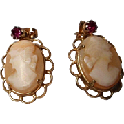 Carved Cameo Pierce Earrings with Red stone