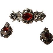 Vintage signed Peruzzi Brooch and Earrings, 800 Silver