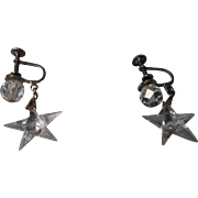 Vintage Sterling and Star Shaped Crystal Earrings