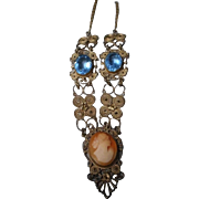 Vintage Filigree Necklace with Cameo and Blue Stones