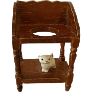 Vintage Carved Wooden Wash Stand with Porcelain Kitten