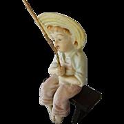 Vintage Porcelain Boy Sitting on Wood Bench, Fishing