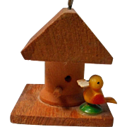 Vintage Carved Wood Bird House, Doll House Size