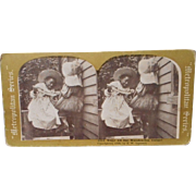 Vintage Stereo -Scopic Image of Children Copyright 1898